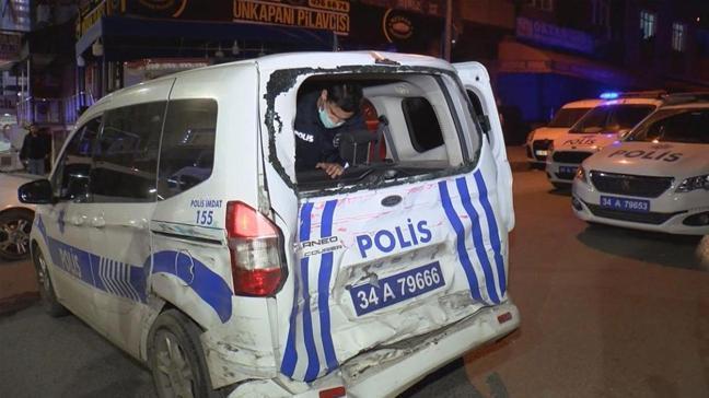 Minibüs ve polis aracı çarpıştı, 3 kişi yaralandı