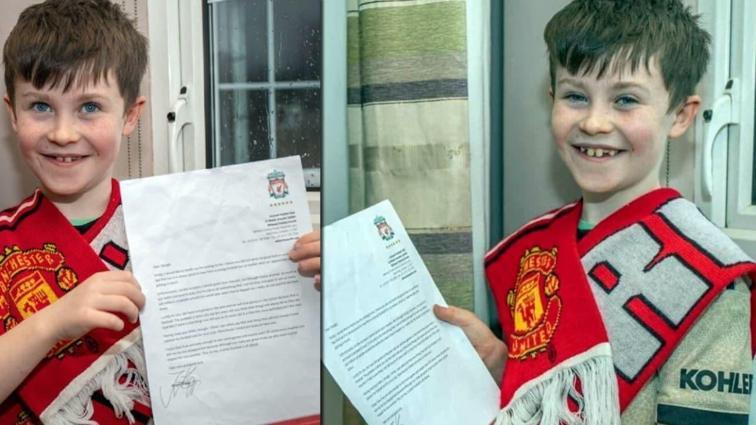 10 yaşındaki Manchester United taraftarı Daragh, bir mektupla Liverpool'u perişan etti
